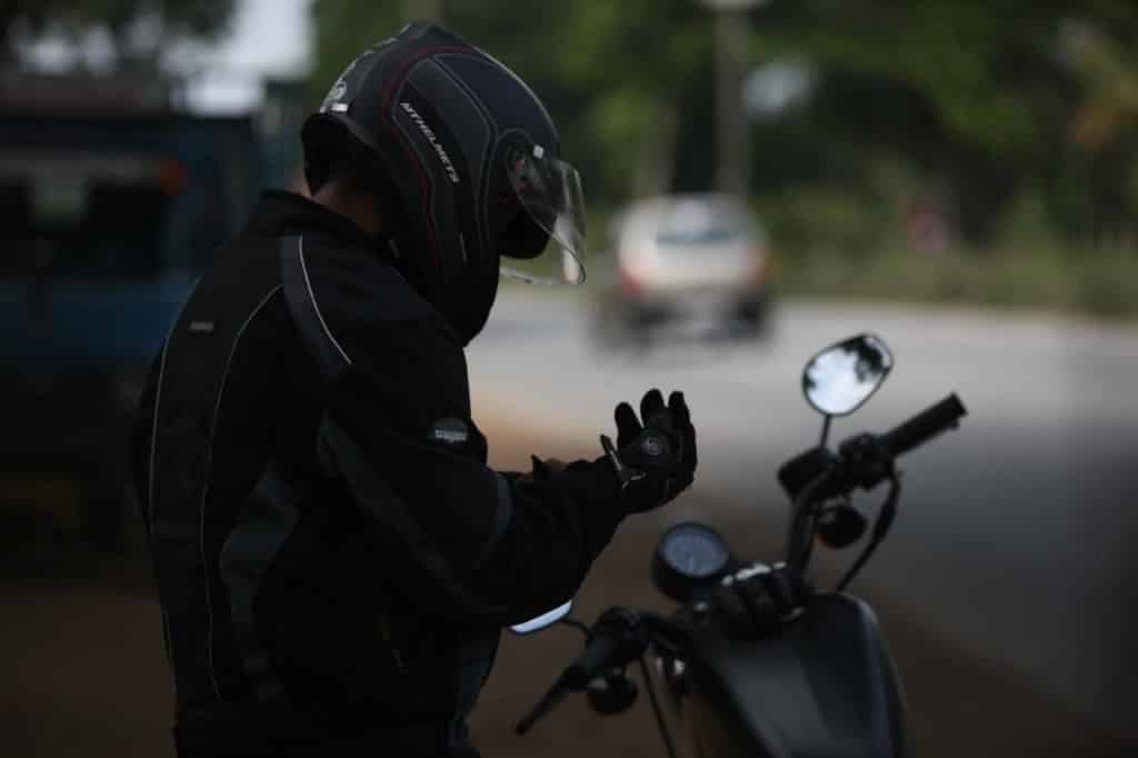 biker wearing gloves