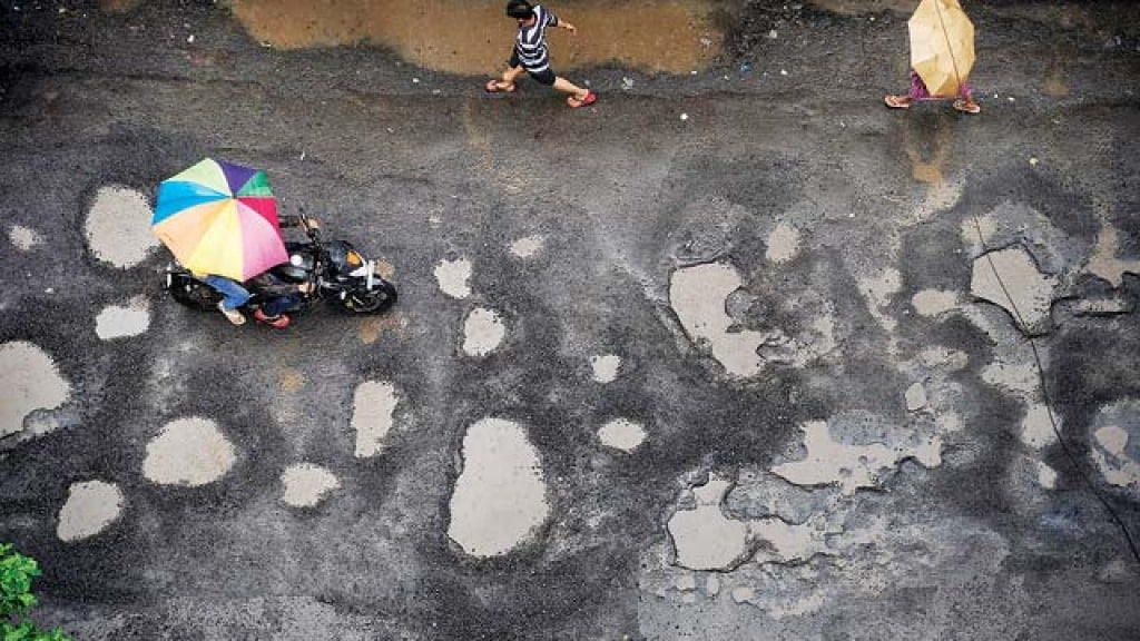 Potholes in rain