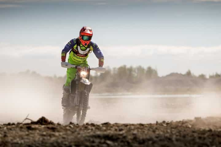 riding a dirt bike offroad