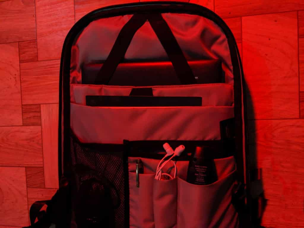 a backpack in red light