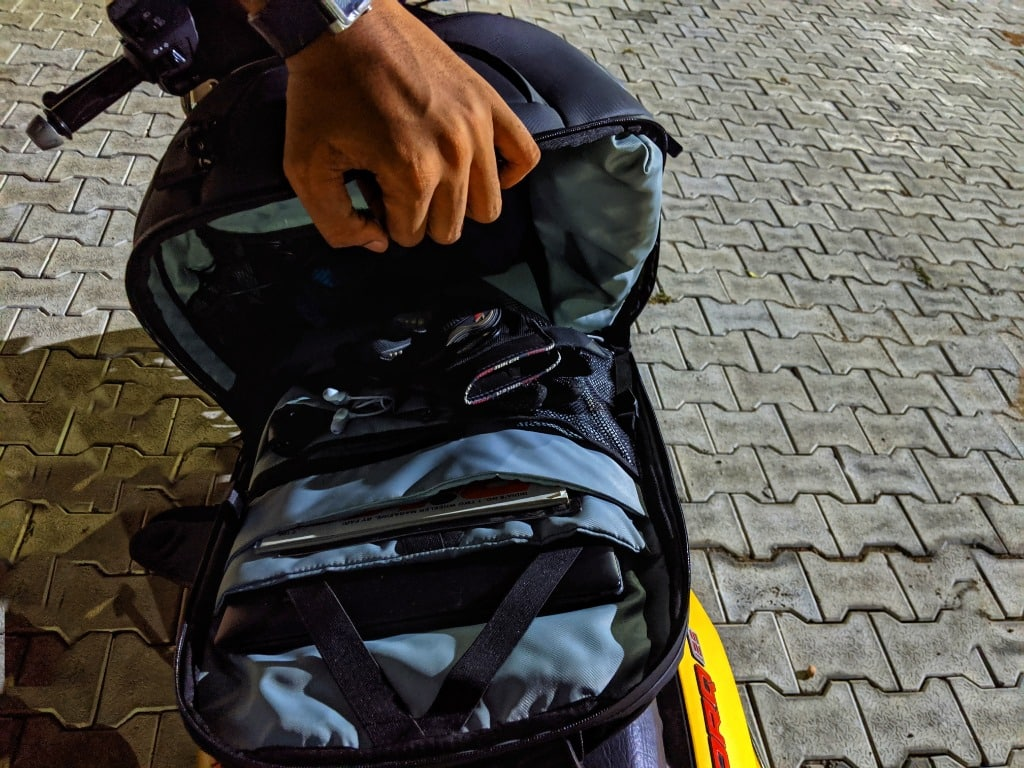 the inside of a backpack for bikers
